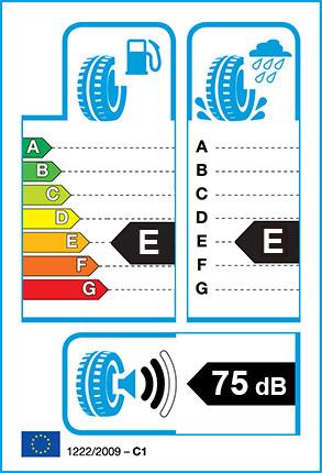 EU Tyre label - Fuel Efficiency Rating E, Wet Grip Rating E, External Noise 73dB