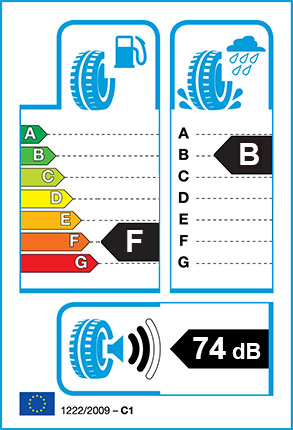 EU Tyre label - Fuel Efficiency Rating F, Wet Grip Rating B, External Noise 74dB