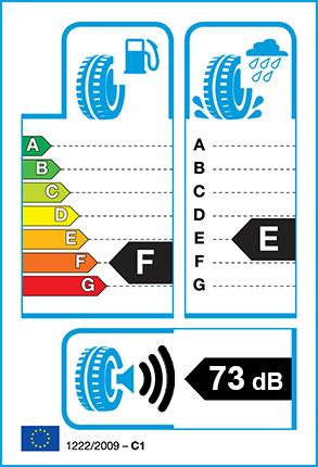 EU Tyre label - Fuel Efficiency Rating F, Wet Grip Rating E, External Noise 73dB